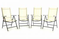 Garthen Sada čtyř zahradních polohovatelných židlí - krémová