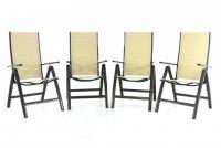 Garthen DELUXE Sada čtyř zahradních skládacích židlí - krémová