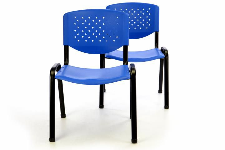Sada 2 x stohovatelná plastová kancelářská židle - modrá