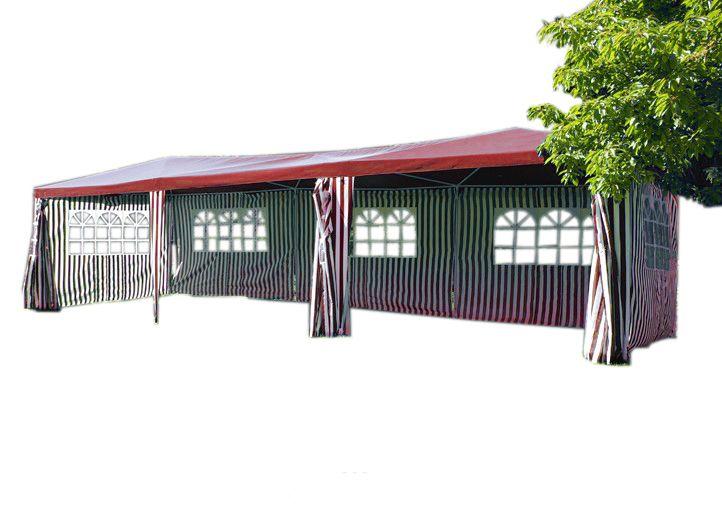 Zahradní stan – červený, 3 x 9 m