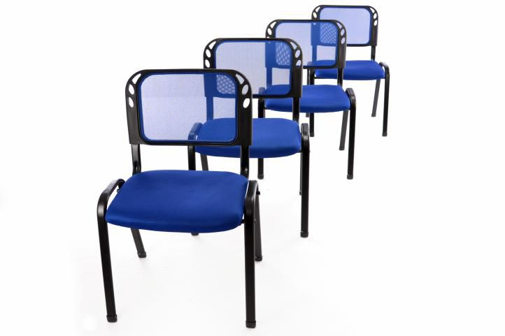 Sada 4 stohovatelných kongresových židlí - modrá