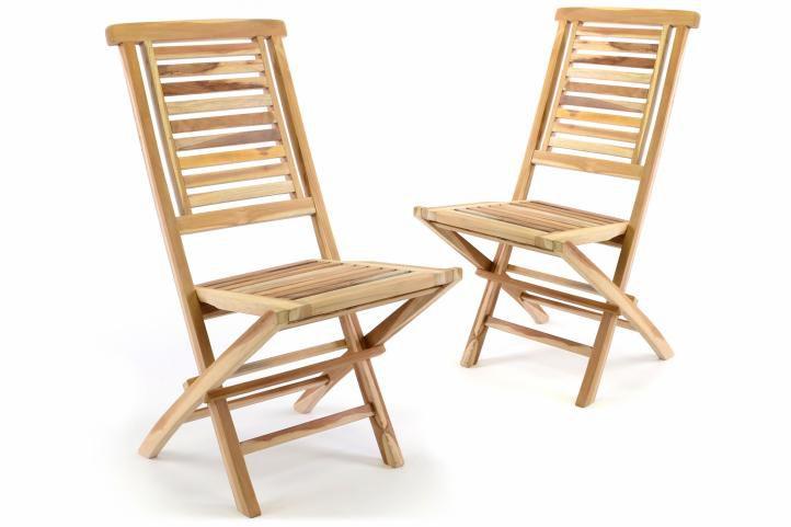 """Sada 2 ks  zahradní židle skládací DIVERO """"Hantown"""" z masivního týkového dřeva"""
