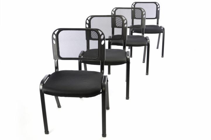 Sada 4 stohovatelných kongresových židlí - černá