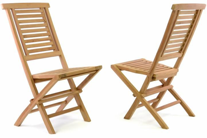 Sada 2 ks zahradní židle skládací DIVERO Hantown z masivního týkového dřeva D41004