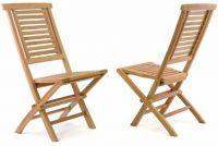 Divero Hantown Sada 2 ks Skládací zahradní židle - týkové dřevo