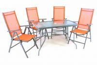 Garthen Zahradní skládací set stůl + 4 židle - oranžová