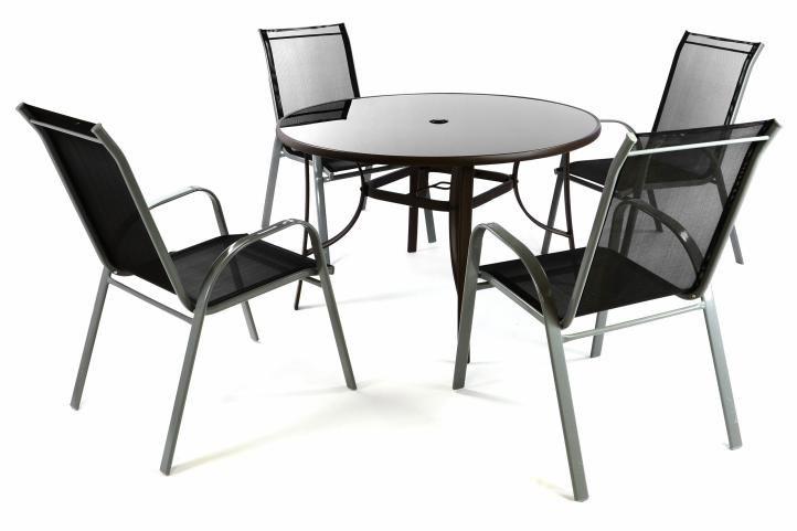 Zahradní set - 4 židle a stůl - černá
