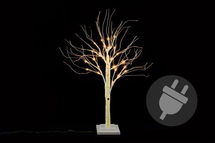 Dekorativní strom bříza 70 cm - 30 LED teplá bílá