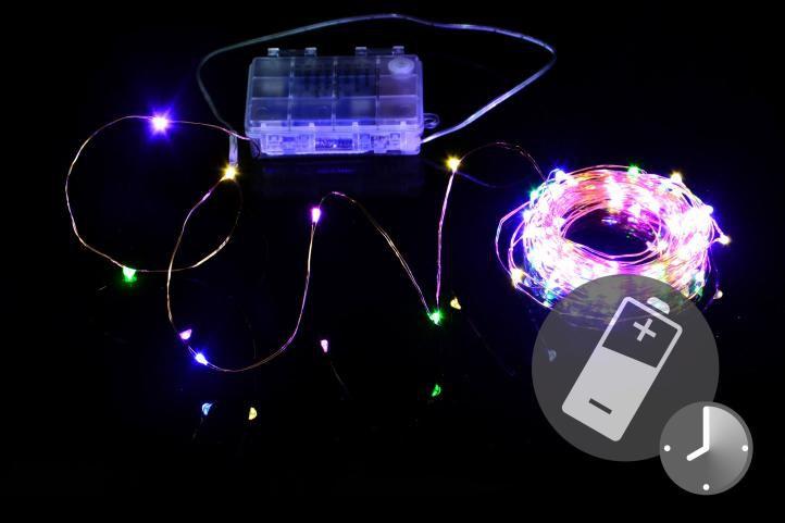 LED osvětlení - měděný drát - 100 LED barevné