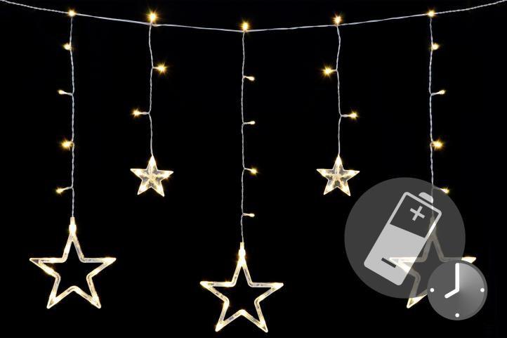 Vánoční LED řetěz - hvězdy - 61 LED 0,6 m teple bílé