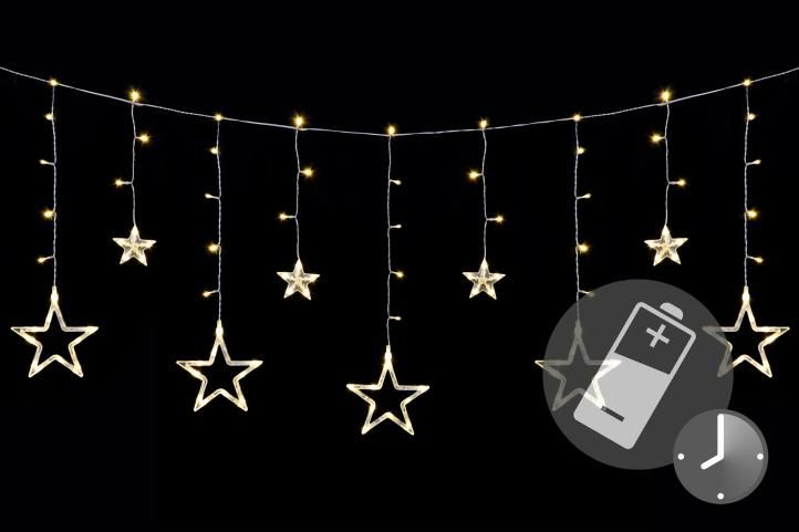 Vánoční LED řetěz – hvězdy, 1,65 m, 138 LED, teple bílé
