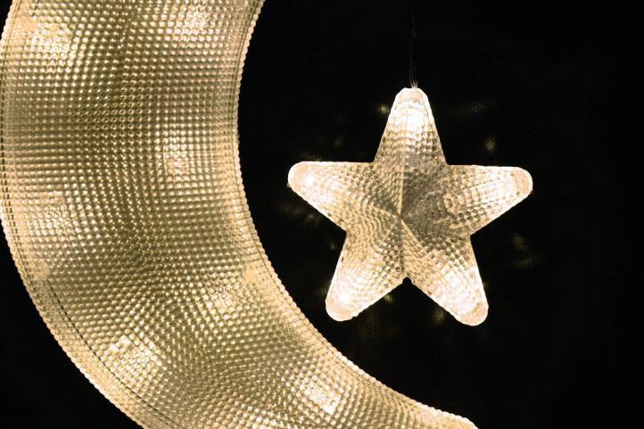 Vánoční dekorace – měsíc s hvězdou – teple bílé