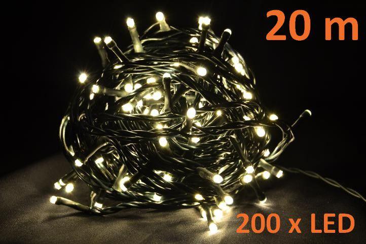 Vánoční LED osvětlení 20 m - teple bílé, 200 diod