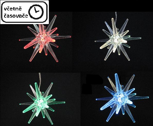 Světelná LED dekorace - hvězda měnící barvu