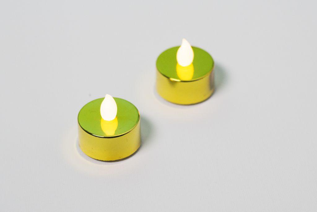 Dekorativní sada – 2 čajové svíčky, zlaté