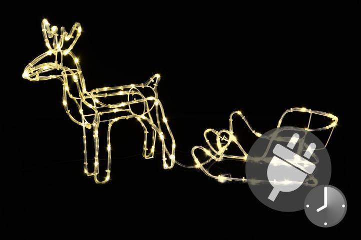 Světelná dekorace - vánoční sob, 80 cm, teple bílý