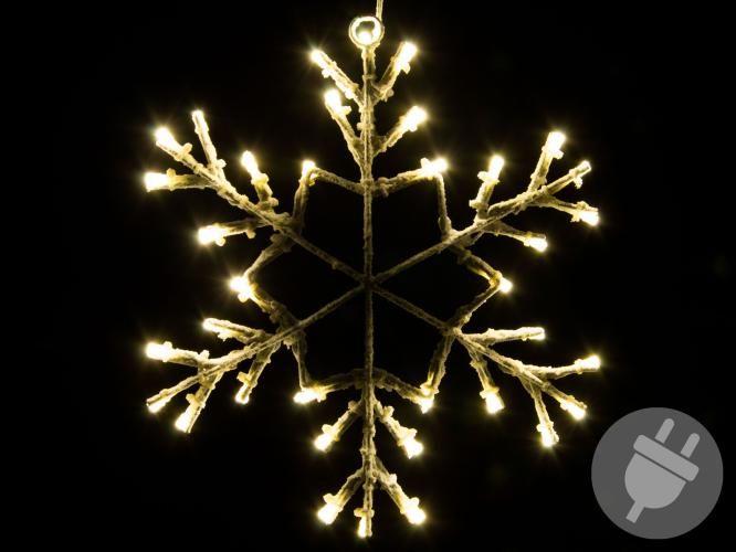 Vánoční LED dekorace - sněhová vločka, 30 cm, teple bílá