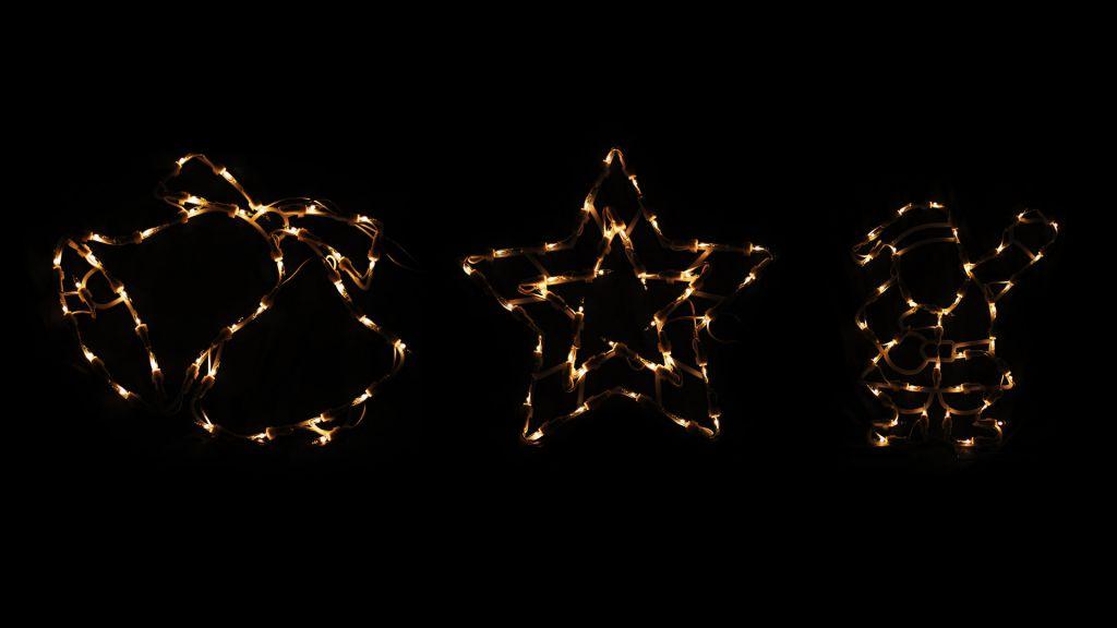 Vánoční dekorace mini žárovky - Mikuláš, zvonečky, vločka - 30 cm
