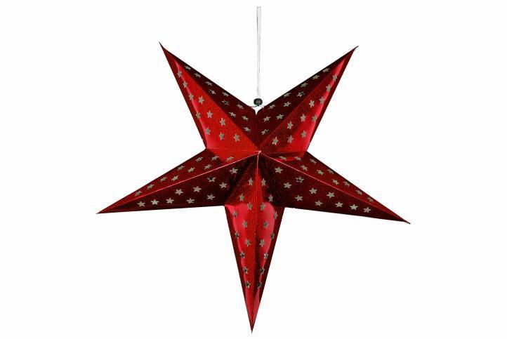 Vánoční dekorace - hvězda s časovačem - 45 cm ČERVENÁ