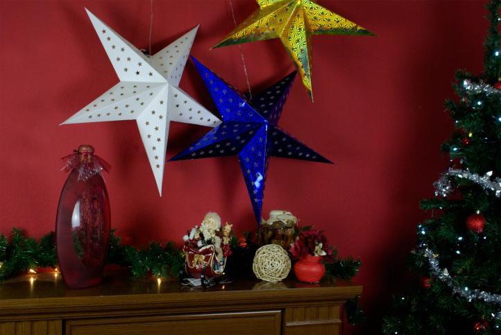 Vánoční dekorace - hvězda s časovačem - 45 cm BÍLÁ