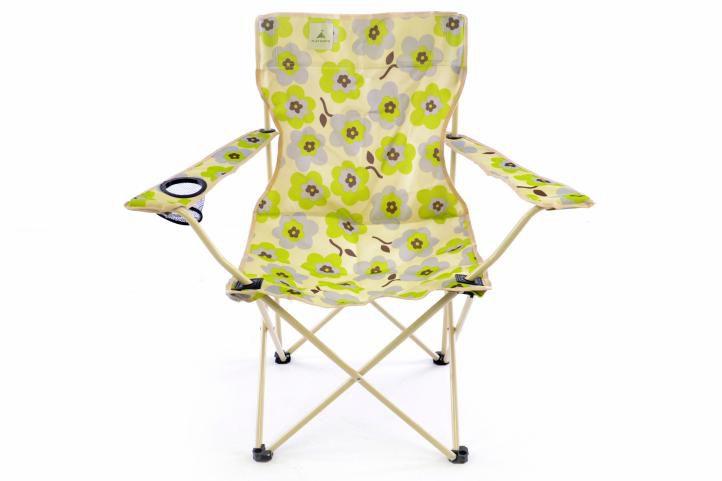 Sada 2x Skládací židle béžová - květinový vzor