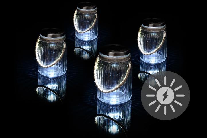 Sada 4 kusů solárního osvětlení – závěsná sklenice