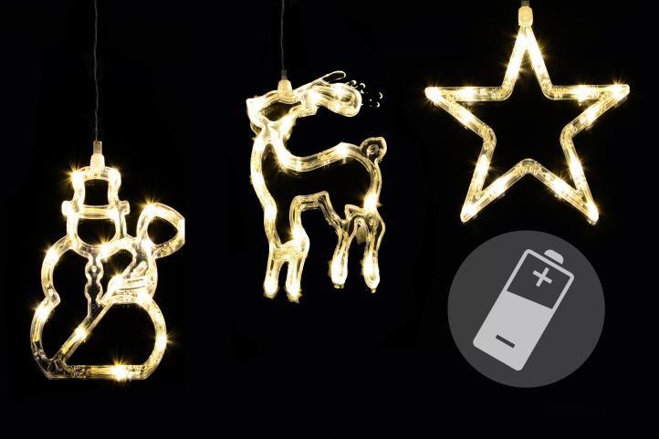 Nexos 43774 Vánoční dekorace na okno - hvězda, sněhulák, sob - LED CLEAR