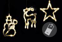 Vánoční dekorace na okno - hvězda, sněhulák, sob, LED CLEAR