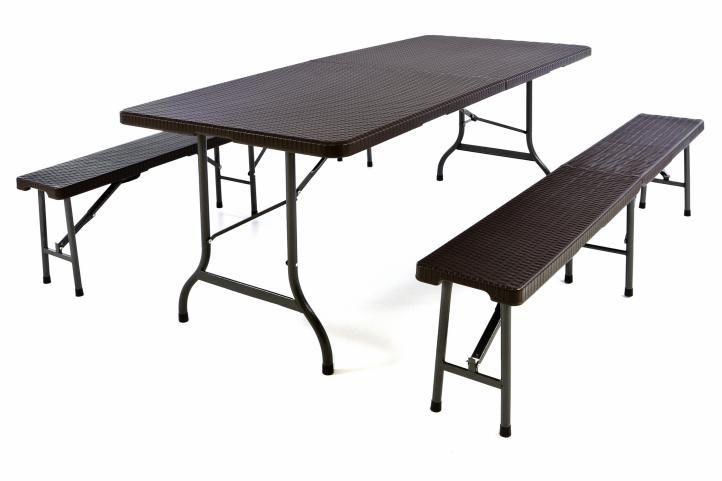 Zahradní set 2 lavice a stůl v ratanovém designu – hnědá