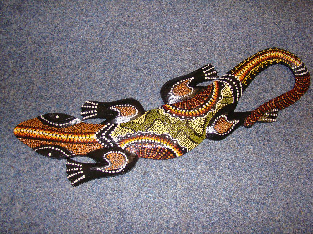 Dřevěná ještěrka motiv had 50 cm