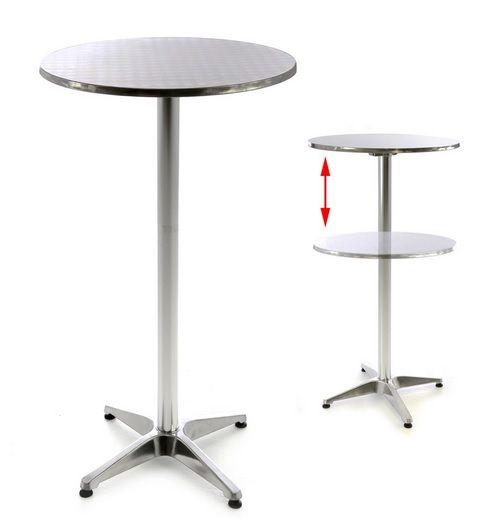 Barový stůl 110 cm kulatý - stříbrný, nastavitelný