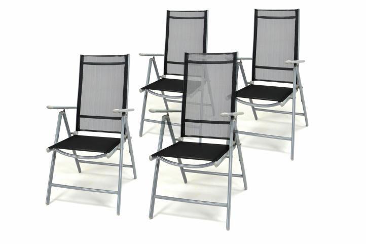 Zahradní sada 4 skládacích židlí – černá