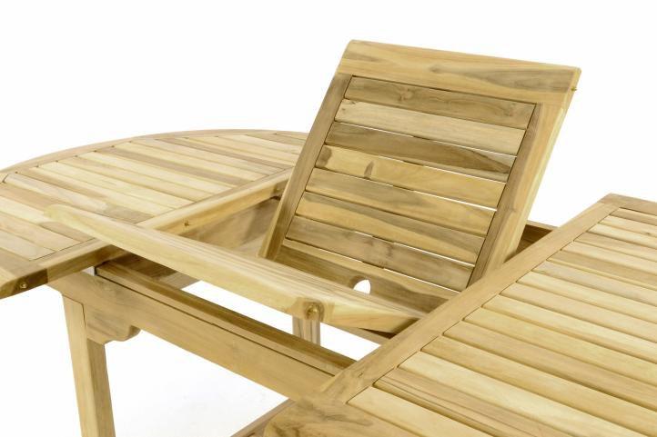Zahradní jídelní stůl z týkového dřeva DIVERO - 120/170 cm