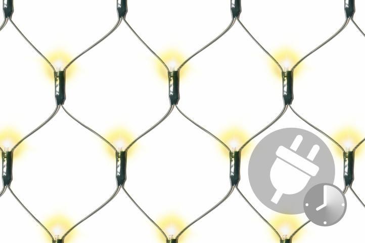 Vánoční světelná síť 3 x 3 m - teple bílá s časovačem 128 LED
