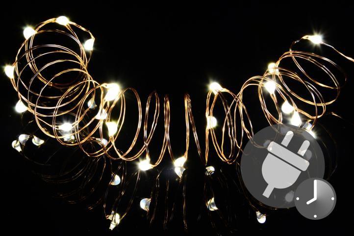 Garthen 47228 Vánoční světelný řetěz - MINI 50 LED s časovačem - teple bílá