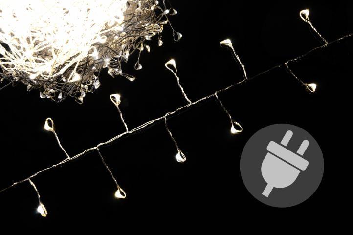 Vánoční LED osvětlení 2,5 m - stříbrný drát - teple bílé 100 LED