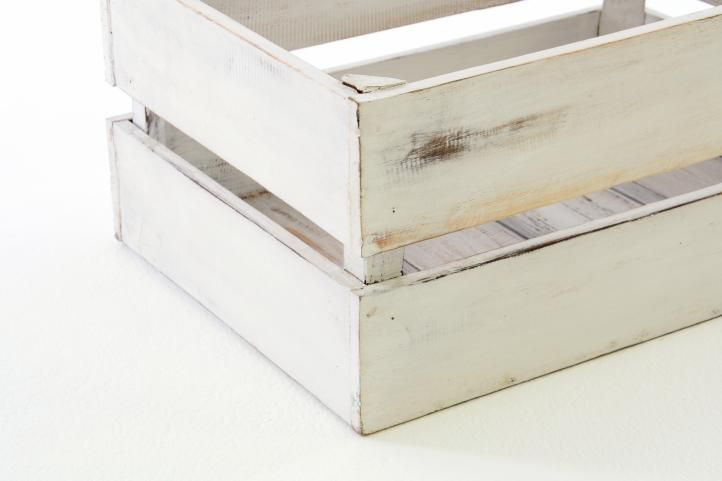 Sada dřevěných bedýnek VINTAGE DIVERO - 4 ks bílá