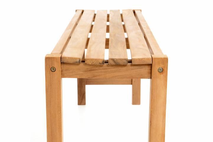 Zahradní set lavic a stolu DIVERO - ošetřené týkové dřevo - 135 cm