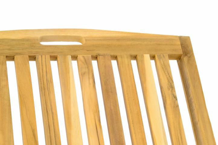 Zahradní lehátko DIVERO - týkové neošetřené dřevo