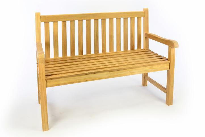 Zahradní dřevěná lavice DIVERO - neošetřené týkové dřevo - 120 cm Divero D50386