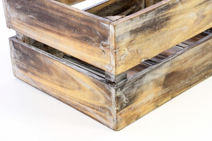 Dřevěná bedýnka VINTAGE DIVERO hnědá - 51 x 36 x 23 cm
