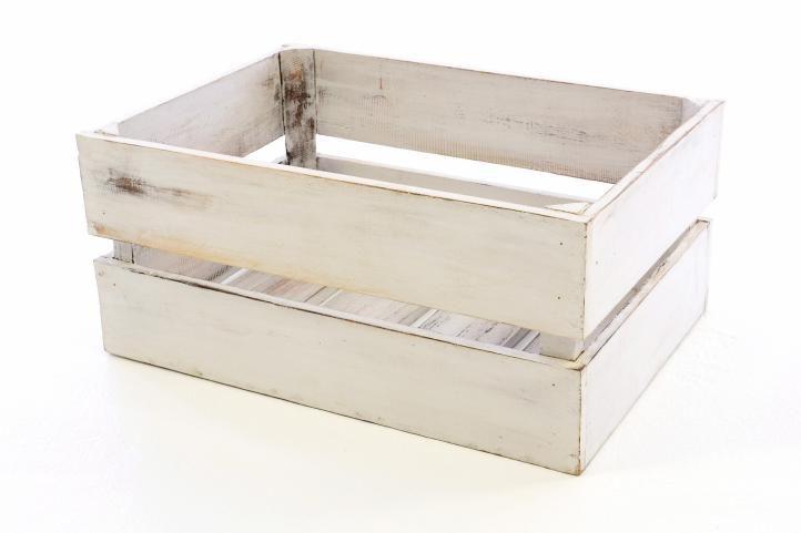 Dřevěná bedýnka VINTAGE DIVERO bílá - 51 x 36 x 23 cm