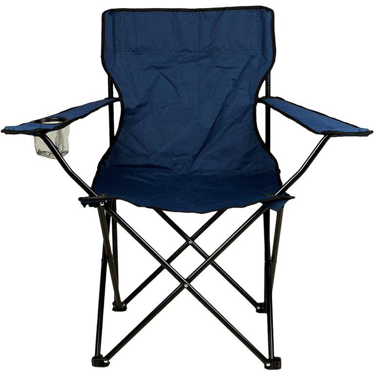 Skládací židle s držákem nápojů – modrá