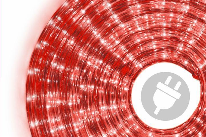 Světelný kabel - 360 minižárovek, 10 m, červený