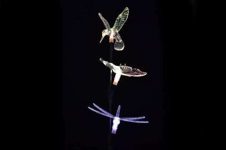 Dekorativní zahradní solární LED osvětlení Garth - motýl, kolibřík, vážka