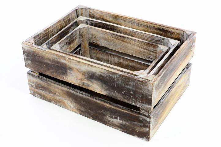 Sada 3 x dřevěná bedýnka VINTAGE DIVERO hnědá - 44 x 28 x 19 cm