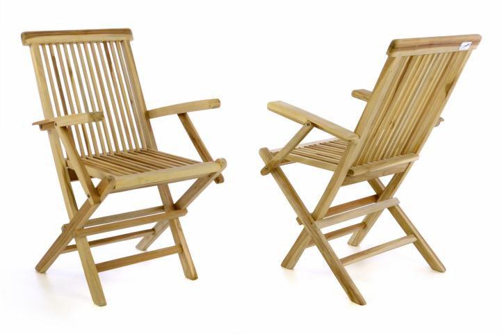 Sada 2 kusů zahradní židle DIVERO skládací - týkové dřevo