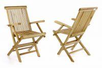 DIVERO Sada 2 kusů Zahradní židle skládací - týkové dřevo