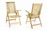 Zahradní skládací židle dřevěná DIVERO - Sada 2 ks