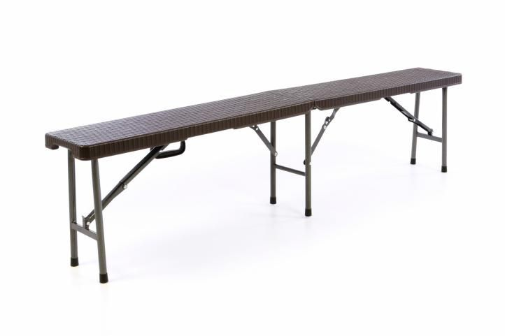Skládací zahradní lavice - hnědý ratanový design 180x25 cm